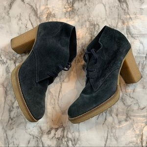 J.Crew Navy Blue Suede Heeled Ankle Booties Boots